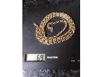 9ct belcher guard chain 69 grams
