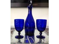 Harvey's Bristol Cream Blue Decanter & Glasses