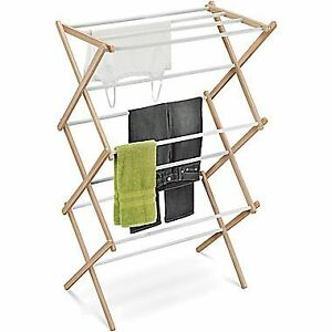 Wood Accordion Foldable Clothes Drying Rack - Like New