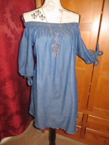 Assorted tops and dresses Blue jean off the shoulder dress Size