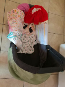 Foldable bassinet,4x baby swaddles,1xskirt tights,2xblankets,$35