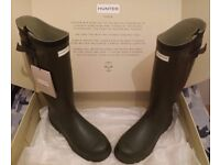 Hunter Balmoral Classic Wellington Boots Size 11 Dark Olive