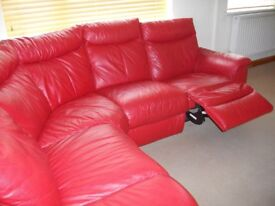 Genuine leather corner sofa in red including electric recliner seat