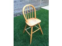 Cute kids stool, high chair in solid pine, strong, vgc