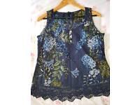 NEXT navy floral vest top
