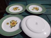 4 x wedgwood sunflower dinner plates