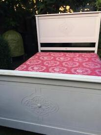 Vintage antique double bed with mattress