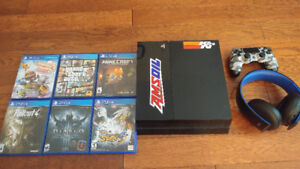 Ps4 with two controllers PlayStation gold headset and 6 games