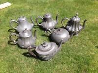 6 Pewter tea pots