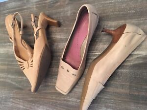 Women's Shoes Tan Leather Heels $10 for both!
