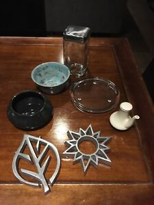 Pottery, trivets, canister, glass plate, soy sauce dispenser