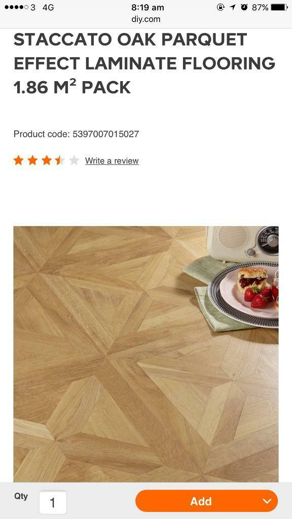 10 Packs Of Staccato Oak Parquet Effect Laminate Flooring In