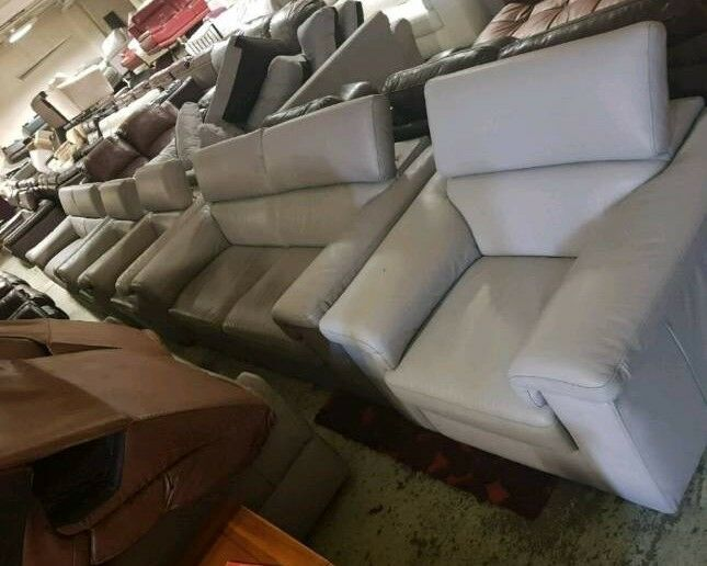 Grey leather 32 seater sofain Burnley, LancashireGumtree - Very hi end leather sofas Available in grey white Brown hi end ex display sofas and furniture based in burnley with a delivery service viewing welcome