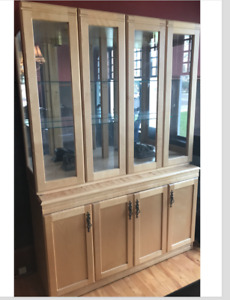 Maple China cabinet and hutch