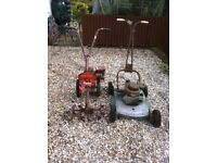 Petrol Lawnmower and Rotovator. For spares or repair.