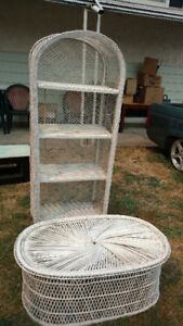 Wicker shelf and table