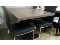 Havanna Extending Dining Table & 4 brown leather chairs by Mark Webster