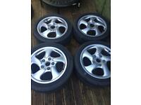 "Porsche Boxter Twists Staggered 17"" set of 4 wheels - 2 x 255/40 ZR & 2 x 205/50 ZR."