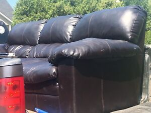 Black Bonded Leather Sofa-*Like New*