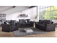 New Farrow leather & fabric 3+2 seater sofa and armchair in black grey with foam seats