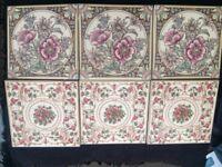 Ceramic tiles (x6) Decorative Flowers