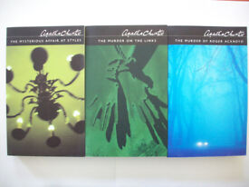 Unread AGATHA CHRISTIE Poirot Detective Murder Mystery Paperback Collectors Edition set of 3 BOOKS