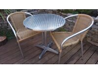 NICE STYLISH BISTRO CAFE TABLE AND 2 CHAIRS SET EXCELLENT CONDITION.