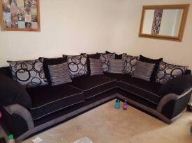 Black & Silver Right Hand Corner Sofa