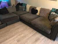 Large corner sofa with pouffe