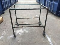 Vintage Steel Industrial Trolley Warehouse Upcycle into table
