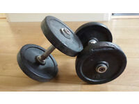 Pair of 10kg rubberised cast iron dumbbells. Ex-commercial gym equipment. Bodybuilding, fitness