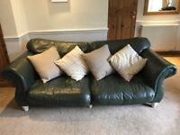 Dark Green Three Piece Leather Suite (Three Seater, Two Seater and Chair)