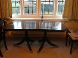 Antique style dining table and chairs, hand crafted mahogany wood, extendable with heat proof cover