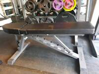 Finnlo by Hammer olympic weights gym bench very heavy duty kit.