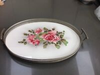 Beautiful vintage painted glass bottom serving tray