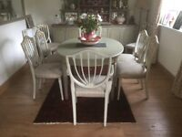 Extending Dining room table and 8 chairs