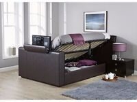 BRAND NEW DOUBLE LEATHER STORAGE SIDE GASLIFT TV BED FRAME + FREE MATTRESS