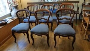 6 Matching Balloon Back Victorian Dining Chairs
