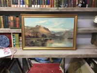 Large Gilt Framed Painting Print by Breanski - 'Kirk at Arrochar'