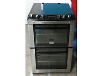 C289 stainless steel zanussi 55cm double oven ceramic hob electric cooker, Comes With Warranty