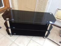 Black glass and chrome three tier TV stand Local delivery possible