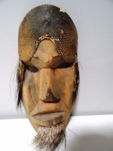 ARMADILLO & HAIR carved wood mask ODDITY tribal decor MAN CAVE