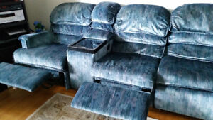 3 in 1 couch, sofa bed & 2 recliners.
