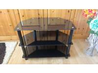 "Black Glass TV Stand (up to 32"")"