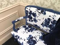 Blue and white painted love seat in Sanderson fabric