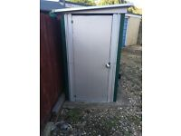 Metal shed, bike storage, galvanised outer shell, good condition.