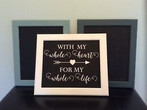 Custom colour chalkboard frames and painted signs
