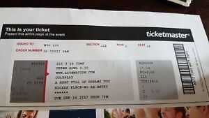 2 Coldplay tickets  Aug 26 Rodgers Place