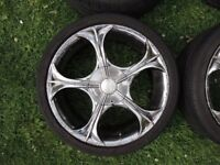 "WOLFRACE MATRIX 4 x 17"" wheels 4x108 4x100 with 205/40/17 tyres ford vauxhall peugeot citreon audi"