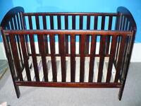 Obaby Lily Dropside Cot - Dark Brown. Teething Rails, 3 positions. VGC! Comes with Obaby mattress